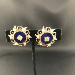 Vintage gold, blue, and pearl screw back earrings